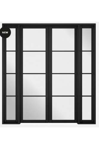 Internal Room Divider Premium Primed Black W6 Soho with Clear Glass