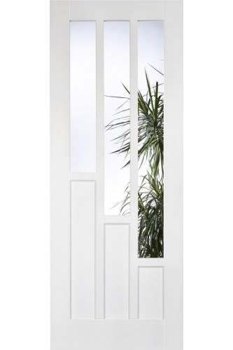 Internal Door White Primed Coventry With Clear Glass Panel