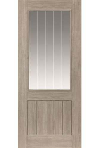 Internal Door LAMINATE Grey Coloured wood effect Colorado Clear Glass with Etched Lines Prefinished