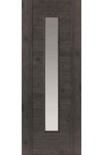 Internal Door Laminate Dark Grey Walnut Wood Effect Alabama Cinza With Clear Glass Prefinished