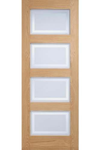 Internal Door Oak Contemporary shaker 4 Light Silkscreen Glazed Untreated LPD - 18mm solid oak lippings - DISCONTINUED