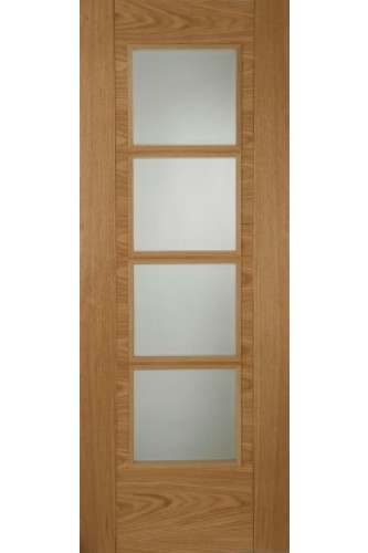 Internal Fire Door Particle Board Core Iseo 4 Light with Clear Glass Prefinished