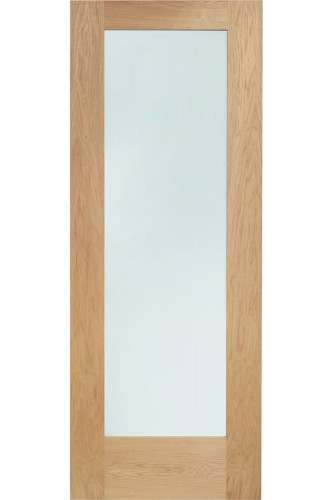 External Door Oak Double Glazed Pattern 10 with Clear Glass DOWELLED Untreated