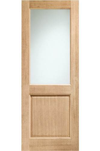 External Door Oak Double Glazed 2XG with Clear Glass Dowelled