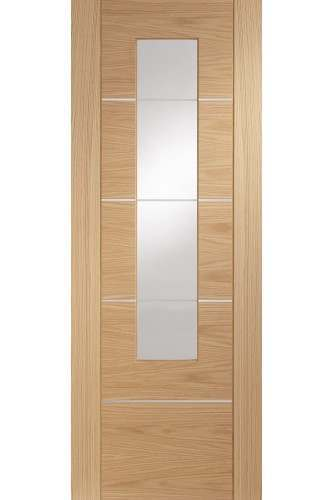 Internal Door Oak Portici with Clear Etched Glass Prefinished