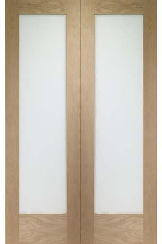 Internal Door Pair Oak Pattern 10 with Obscure Glass Untreated
