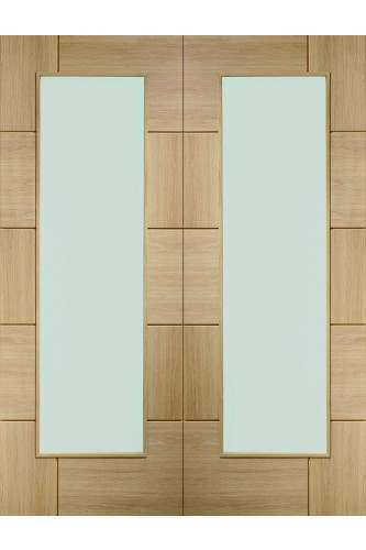 Internal Door Pair Oak Ravenna with Clear Glass Untreated