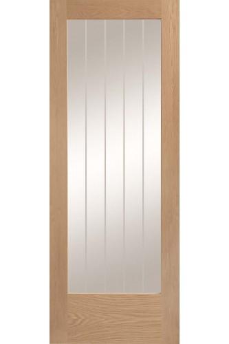Internal Door Oak Suffolk Pattern 10 1 Light Clear Etched Glass Untreated