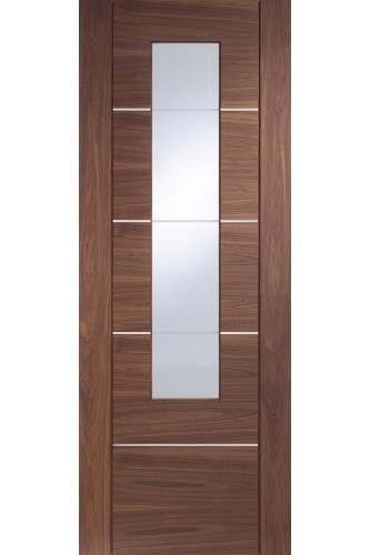 Internal Door Walnut Portici with Clear Glass Prefinished