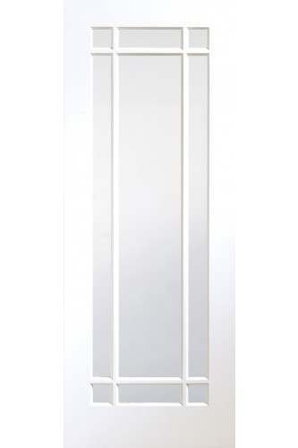 Internal Door White Primed Cheshire with Clear Glass
