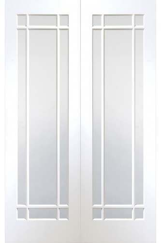 Internal Rebated Door Pair White Primed Cheshire with Clear Glass