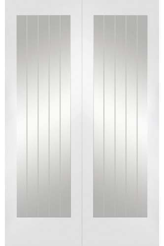 Internal Rebated Door Pair White Primed Suffolk Clear with Etched Lines