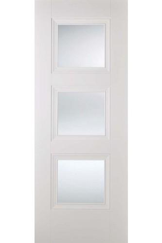 Internal Door White Primed Amsterdam 3 Light Clear Glass