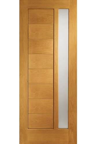 External Door Oak Modena with Obscure Glass Prefinished