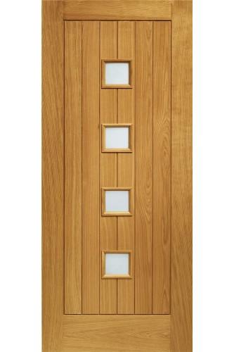 External Door Oak Siena with Obscure Glass Prefinished