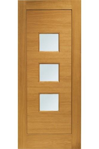 External Door Oak Turin Pre-Finished Medium Oak Double Glazed with Obscure Glass