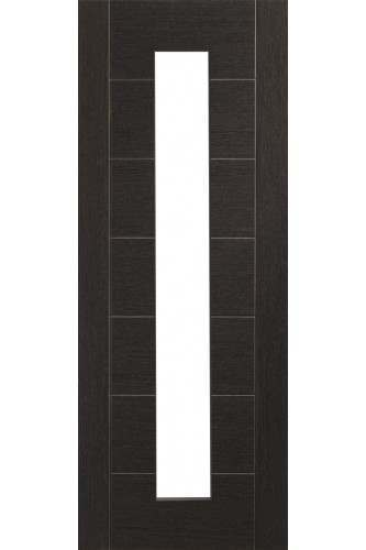Internal Door Dark Grey Palermo With Clear Glass Prefinished DISCONTINUED
