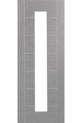 Internal Door Light Grey Stained Palermo with Clear Glass Prefinished DISCONTINUED