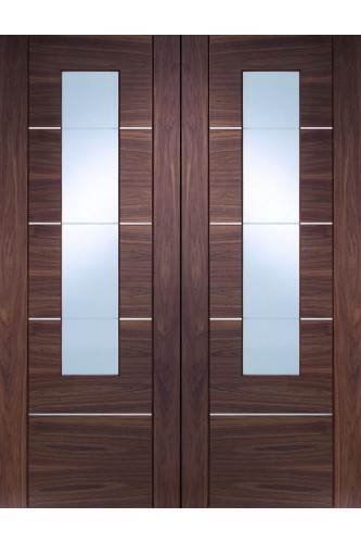 Internal Door Pair Walnut Portici with Clear glass and Aluminium Inlay Prefinished - DISCONTINUED