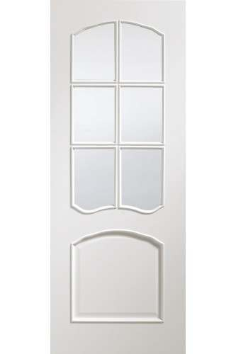 Internal Door White Riviera with Clear Bevelled Glass Prefinished