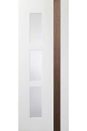 Internal Door White and Walnut Praiano with Clear Glass Prefinished DISCONTINUED
