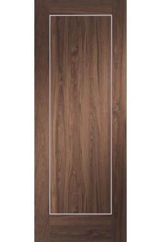 Internal Door Walnut Varese Pre Finished with real aluminium inlays