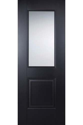 Internal Door Black Arnhem 2 Panel 1 Light Clear Glass Primed Plus