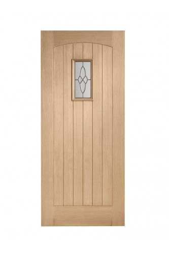 External Door Oak Cottage with Black Caming M & T Untreated SPECIAL OFFER