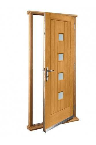 """External Oak Siena with obscure glass Timber Doorset Prefinished (33"""") - Out of stock until further notice"""