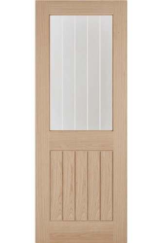 Internal Door Oak Budget Blue Label Belize with Clear Glass and Frosted Lines Untreated