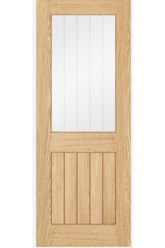 Internal Door Oak Budget Blue Label Belize With Clear Glass And Frosted Lines Prefinished - PLEASE CALL TO CHECK STOCK BEFORE ORDERING