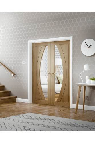 """Internal Door Pair Oak Salerno with Clear Glass Fully Finished (78"""" x 46"""" - 1168mm)"""