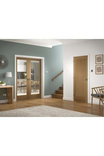 Internal Rebated Door Pair Oak Suffolk Clear Etched Glass Untreated