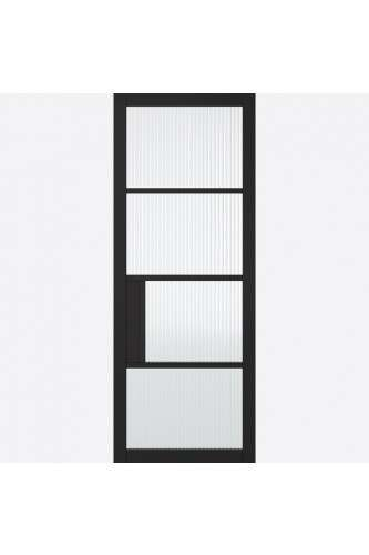 Internal Door Premium Primed Plus Black Chelsea 4 Light REEDED Glass