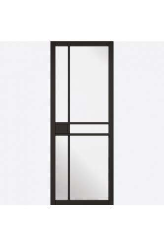 Internal Door Premium Primed Plus Black Greenwich with Clear Glass
