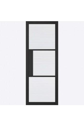 Internal Door Premium Primed Plus Black Tribeca 3 Light REEDED Glass