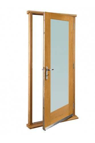 "External Oak Pattern 10 with Clear Glass Timber Doorset Prefinished Medium Light Oak (33"")"