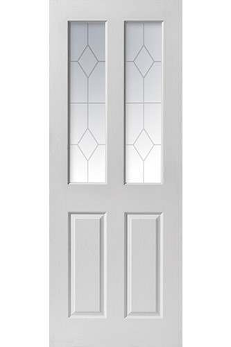 Internal Door White Moulded Canterbury Grained 2 Light Etched