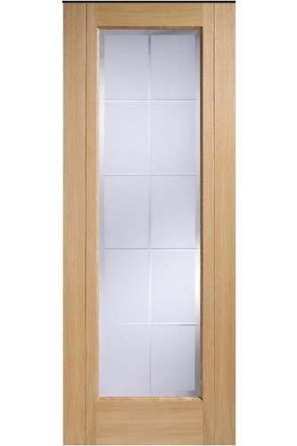 Internal Door Oak seville with Clear Cut Frosted Glass Prefinished