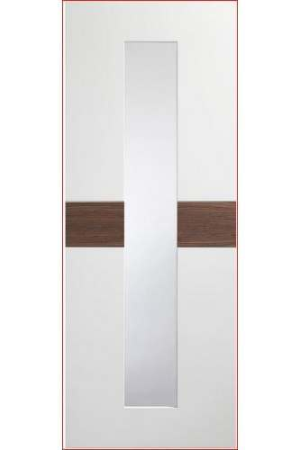 Internal Door White and Walnut Asti with Clear Glass Prefinished DISCONTINUED