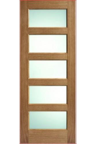 Internal Door Oak Contemporary 5 Light Clear Glass Prefinished