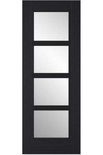 Internal Door Charcoal Black Vancouver 5 Panel with Clear Glass Prefinished