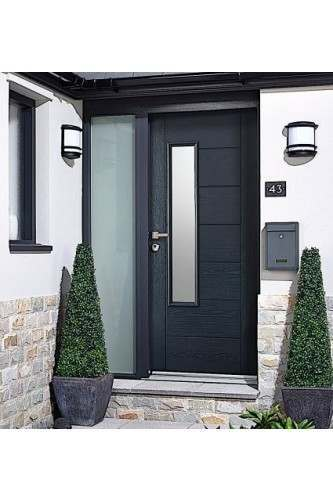 External Door Kit Composite GREY GRP Newbury 1 Light with Frosted Sidelight with optional timber frame (to paint on site)