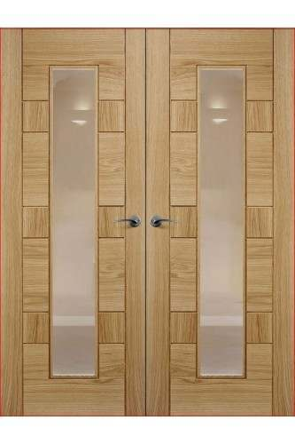 Internal Door Pair Rebated Oak Edmonton with Clear Etched Glass Prefinished DISCONTINUED - Call to check stock