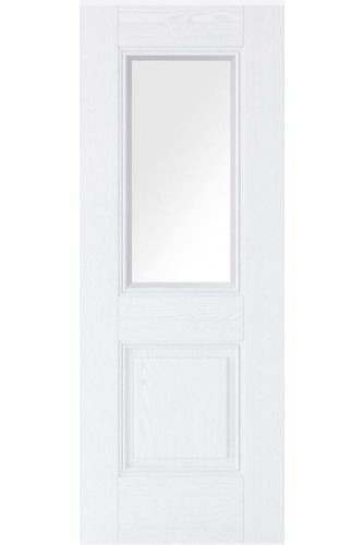 Internal Door White Primed Arnhem 2 Panel GRAINED with Clear Glass