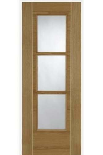 Internal Door Oak Mirage 3 Light Clear Glass Semi Solid Core With Ash Inlays Prefinished CLEARANCE
