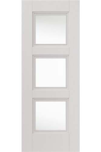 Internal Door White Primed Catton 3 Panel with decorative flush mouldings and Clear Glass (RAL colour finish available)