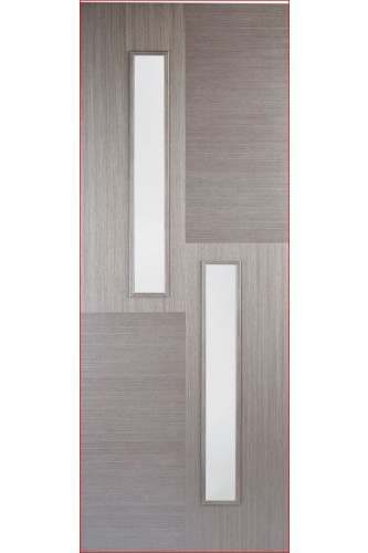 Internal Door Chocolate Grey Hermes with Clear Glass Prefinished DISCONTINUED CHECK STOCK LEVELS
