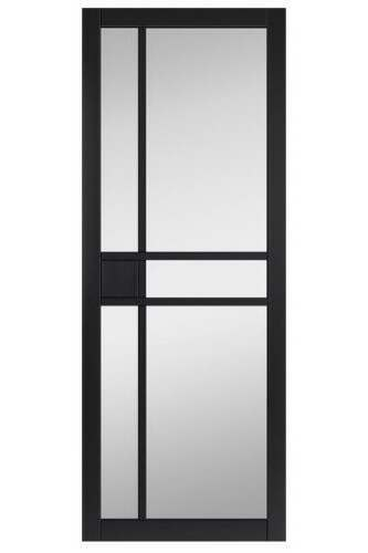 Internal Door Urban Industrial City Black with Clear Glass