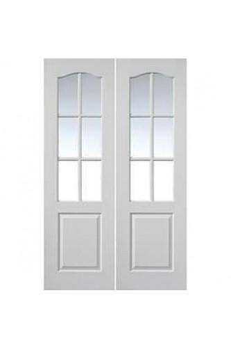 Internal Door Pair White Moulded Classique 6 Light